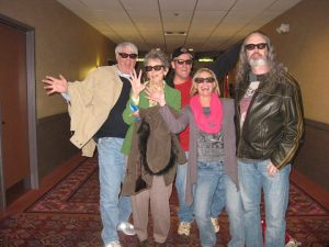 Brian with friends and family, sporting 3D glasses