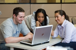 Students study in the libraries collaborative learning center.