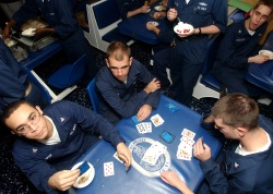 041224-N-4757S-194   Persian Gulf Onboard USS Monterey. Sailors enjoy a Christmas Eve Ice Cream Social on the mess decks of the cruiser, USS Monterey (CG 61).  USS Monterey is currently attached to USS Harry S. Truman's Carrier Strike Group TEN (CSG 10) and is on a regularly scheduled deployment in support of the Global War on Terrorism. (United States Navy photo by Photographer's Mate Third Class Craig Spiering.) (RELEASED)